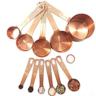 Smithcraft Stainless Steel Metal Measuring Cups and Spoons Complete Set of 11pcs Professional Measurer Scoops Ingredients Liquid or Dry Heavy Duty Solid Measurment Cup Color Rose Gold