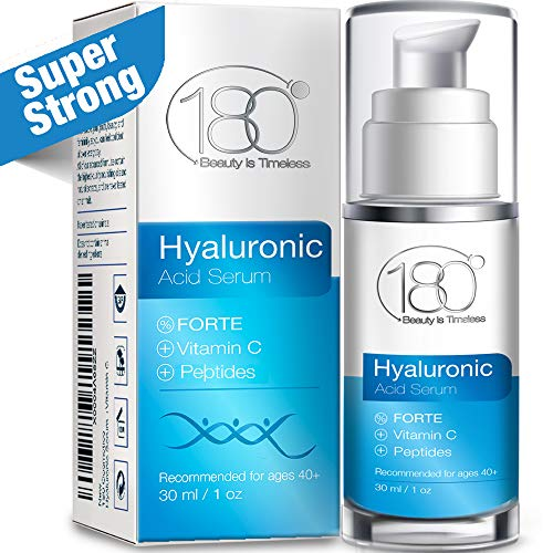 - Hyaluronic Acid Vitamin C Facial Serum - Super Strong - 180 Cosmetics - Face Lift Skin Serum for Face and Eyes - Pure Hyaluronic Acid For Immediate Results - Hydrating Anti Aging Wrinkles Fine Lines