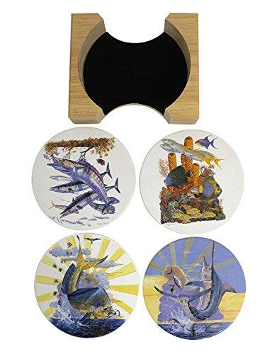 Rivers Edge Ceramic Coasters - Set Of 4 - Various - Coasters Fish