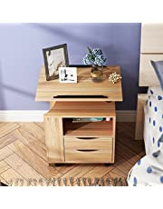 sogesfurniture Nightstand, Height Adjustable Movable Bedroom Side Table, Overbed Bedside Table, Stackable End Table, Bedside Table, Bedroom Furniture, Black BHCA-CT1-OK