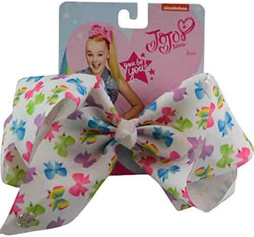 JoJo Siwa Large Cheer Hair Bow (White w/Colored Bows)