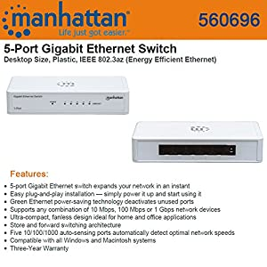 ICI560696 - MANHATTAN 560696 Gigabit Ethernet Switch (5 Port)