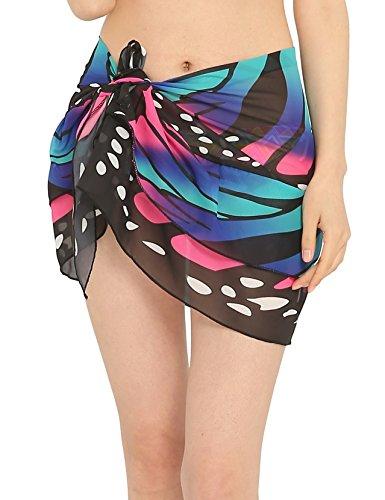 ChinFun Women's Beach Cover Up Short Sarong Dress Pareo Multi Wear Ruffle Swim Skirts Bathing Suit Bikini Chic Mini Sexy Swimsuit Wrap Swimwear Chiffon Shawl Butterfly Blue -