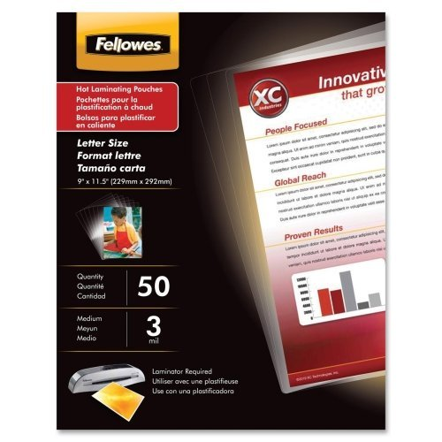 FELLOWES MANUFACTURING 52225 Laminating Pouches, 3 mil, 11 1/2 x 9, 50/Pack by Fellowes