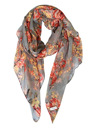 GERINLY Lightweight Scarves: Fashion Flowers Print Shawl Wrap For Women (Grey) (Long Outlet Beach)