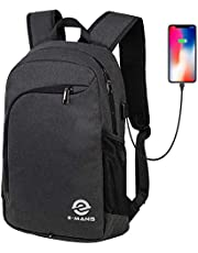 E-MANIS Large Capacity Laptop Backpack,Water Resistant Computer Rucksack with USB Charging Port and Headphone Hole,15.6Business College Outdoor Travel Hiking for 15 inch Laptop and Notebook