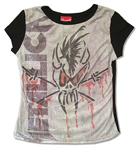 Metallica Scary Guy Print Girls Juniors Cap Sleeve Shirt - Metallica Guy Scary