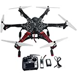 QWinOut 6-axis RC Aircraft Hexacopter DIY Helicopter RTF Drone with AT10 TX/RX 550 Frame GPS APM2.8 Flight Controller Battery (Assembled and Tested, No Manual)