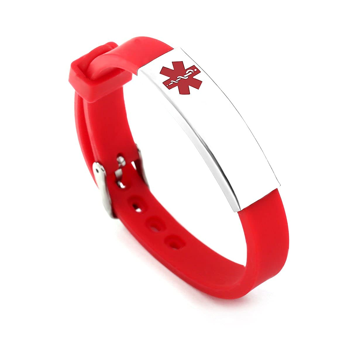 Silicone Bracelet Medical Alert ID for Men and Women Adjustable Size (Free Engraving) BAIYI Jewelry 4332595663
