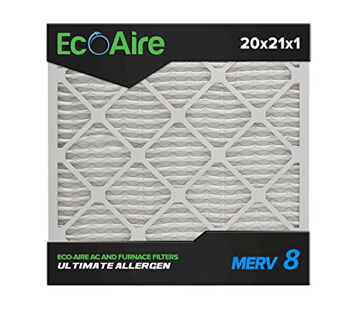 Eco-Aire 20x21x1 MERV 8, Pleated Air Filter, 20x21x1, Box of 6, Made in the USA