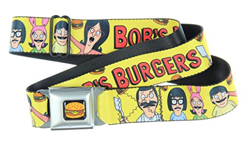 Bob's Burgers Seatbelt Belt (Belcher Family, Yellow)-Holds Pants Up