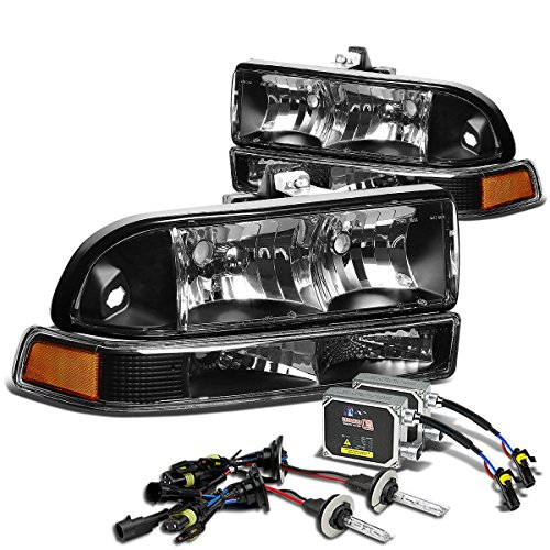 For Chevy S10/Blazer GMT 325/330 Headlight+8,000K 9006 HIDs+Thick Ballasts Kit (Black Housing Amber Reflector)