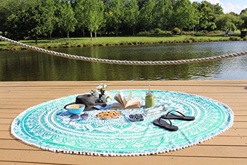 Round Tapestry mandala ,Circle Beach Tapestry Towel Wall hanging Hippie Boho Gypsy Cotton Tablecloth Beach Towel , Round Yoga Mat - Circle Towel