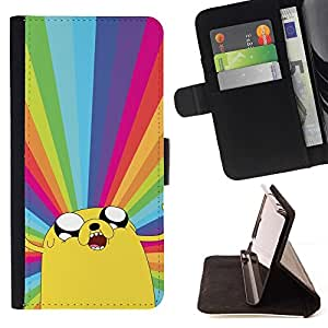 Momo Phone Case / Flip Funda de Cuero Case Cover - Adv3Nture Time Dog Rainbow - MOTOROLA MOTO X PLAY XT1562