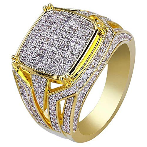 FEDULK Womens Dazzling Natural Ruby Diamond Engagement Antique Ladies Gifts Light Luxury Rings (11, Gold) ()