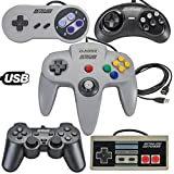 5 USB Classic Controllers - Nintendo (NES), Super Nintendo (SNES), Sega Genesis, Nintendo 64 (N64), PlayStation 2 (PS2) for RetroPie, PC, HyperSpin, MAME, NeoGeo FBA Emulator, Raspberry Pi Gamepad
