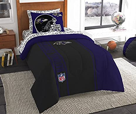 Baltimore Ravens Bed In A Bag Set Bedding Shams NFL 5 Piece Twin Size 1  Comforter