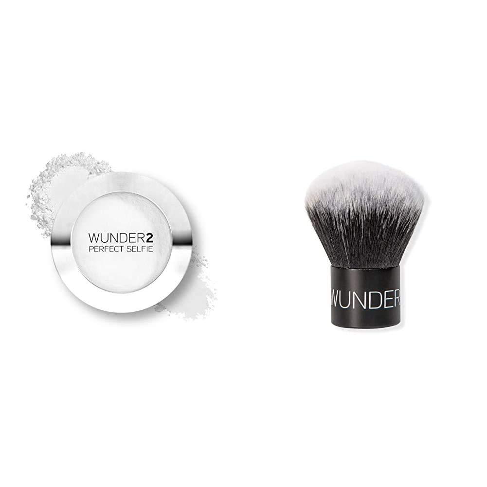 WUNDER2 PERFECT SELFIE Makeup Kit Translucent Setting Powder Bundle with Kabuki Brush HD Photo Finishing Pressed Compact Face Powder Mattifies Skin, Matte