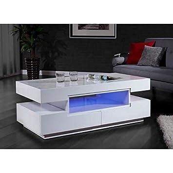 Prisca Table Basse Avec Eclairage Led 120x60cm Blanc