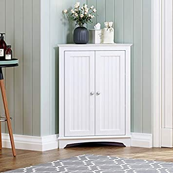 Spirich Home Floor Corner Cabinet With Two Doors And Shelves Free Standing Corner Storage Cabinets For Bathroom Kitchen Living Room Or Bedroom White Amazon Ca Home Kitchen