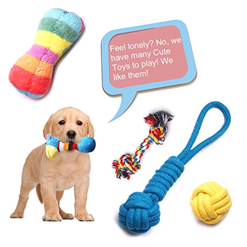 YUNKINGDOM (Pack of 12) Dog Rope Toys Squeaky Plush Dog Toys,Dog Chew Toys Set for Puppies and Small Dogs(Pack of 12) by YUNKINGDOM (Image #1)