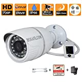 HOSAFE 1MB1W HD IP Camera Outdoor 720P Night Vision ONVIF H.264 Motion Detection Email Alert Remote View Via Smart Phone/Tablet/PC, Working With Foscam IP Camera Software Blue Iris iSpy IP Camera DVR(White) For Sale
