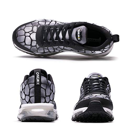 Onemix Men's Lightweight Air Cushion Sport Running Shoes Black White Size 9.5
