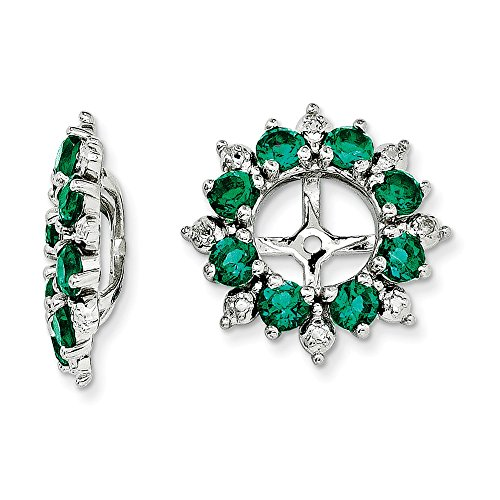 925 Sterling Silver Rhodium Diamond and Created Emerald Earring - Emerald Jacket Womens