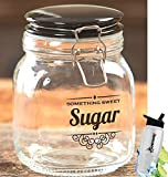 Gift Included- Vintage Kitchen Sugar Clear Glass Storage Container Jar Canister With Lid + FREE Bonus Water Bottle by Home Cricket Homecricket