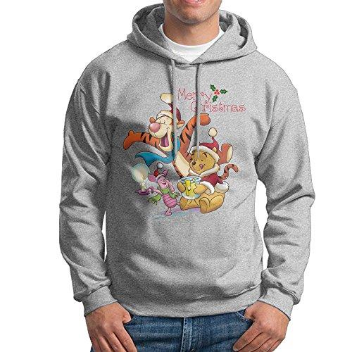 E~.~!S Merry Christmas Pooh Men's Fashion Hooded Sweatshirt Ash M