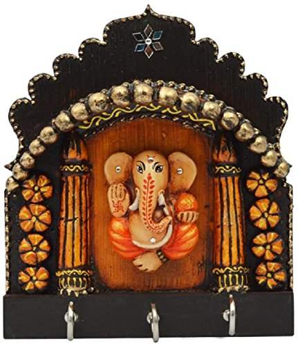 Indian Wooden Lord Ganesha Key Hook Holder Rack Pink City Handmade Decorative Home Decor Wall Mount (Roman Godess)