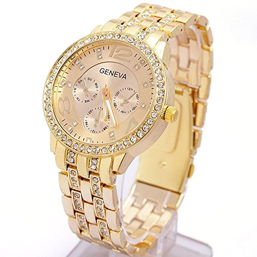Crystal Geneva (Wrist Watch Stainless Steel Golden Classic Alloy Round Geneva Crystal Rhinestone Leisure Quartz, Unisex - Happy Hours)