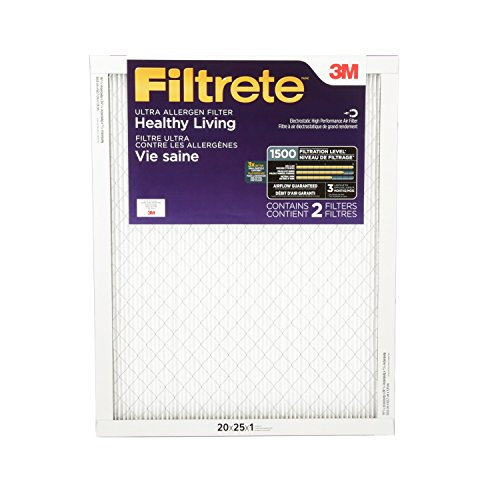 Filtrete Healthy Living Ultra Allergen Reduction Filter, MPR 1500, 20 x 25 x 1-Inches, 2-Pack (3m 20x20x1 Furnace Filters compare prices)