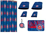 The Northwest Company MLB Chicago Cubs 18 Piece Bath Ensemble Includes (1) Shower Curtain, (12) Shower Hooks, (2) Bath Towels, (2) Hand Towels, and (1) Bath mat