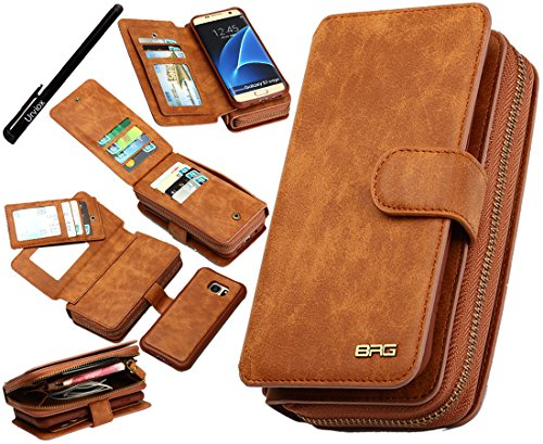 Urvoix Galaxy S7 Edge Case, Premium Leather Zipper Wallet Multi-functional Handbag Detachable Removable Magnetic Case with Flip Card Holder Cover for Samsung Galaxy S7edge G935