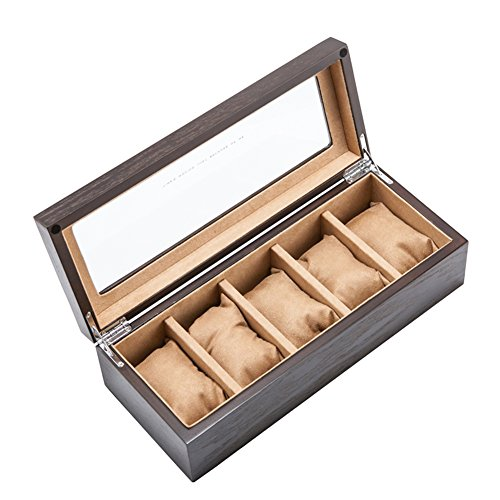 Watch 5 Vintage (BAIHT Men Vintage Brown 5 Slots Glass Top Solid Wood HandCraft Watch Box Organizer Storage Case Jewelry Watch Display Cases, Yellow Pillows)