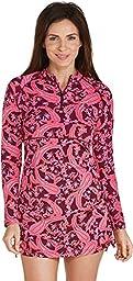 Coolibar UPF 50+ Women\'s Ruche Swim Shirt - Sun Protective (Small - Cabernet Paisley)