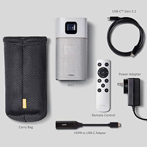 BenQ GV1 Wireless Mini Portable Projector | Google Cast & AirPlay | Bluetooth Speaker | Wi-Fi (or Wireless Display) | USB-C | HDMI Connectivity