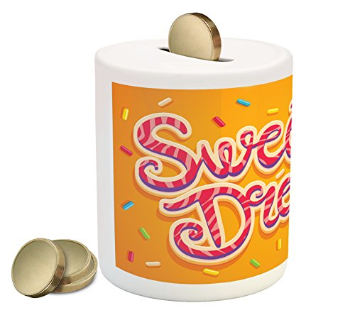 Ambesonne Sweet Dreams Coin Box Bank, Hand Drawn Composition