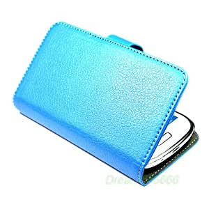 Blue Stand Leather Flip with Credit Card Holder Case Cover For Samsung Galaxy III S3 I9300 Black + One Phone Sticker