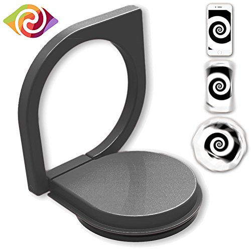 Price comparison product image Finger Ring Stand,Ring Spinner with APP 360°Rotation Mobile Cell Phone Ring Stand Holder Metal Kickstand Car Mount Finger Grip Ring Holder Zinc Alloy (Black)