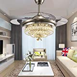 TiptonLight Ceiling Fans with Lights 42 Inch Modern LED Crystal Ceiling Fan and Light with Remote Control,Retractable Blades Fan for Living Room Bedroom