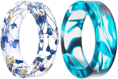New Arrival Handmade Blue Color Dried Flowers Transparent Resin/Plastic Women/Men's Charm Ring
