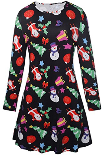 Christmas Dress Up Ideas (Oyamiki Women's Christmas Santa Claus Printed Long Sleeve Casual Loose Swing T-Shirt Dress Pinted 2/S)