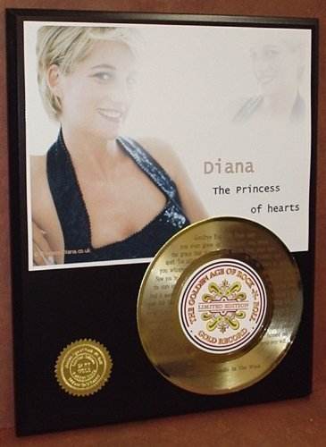 Elton John Tribute To Princess Diana 24Kt Gold 45 Record LTD Edition Display Laser Etched W/Lyrics Gold Record Outlet