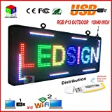 P13 Fully Outdoor 15''x 40'' FULL COLOR Programmable LED Sign Commercial IMAGE TEXT SCROLLING Message Board Display for Window