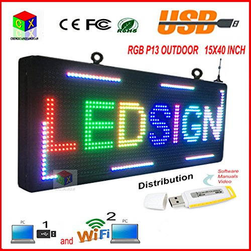 """P13 Fully Outdoor 15''x 40"""" FULL COLOR Programmable LED S..."""