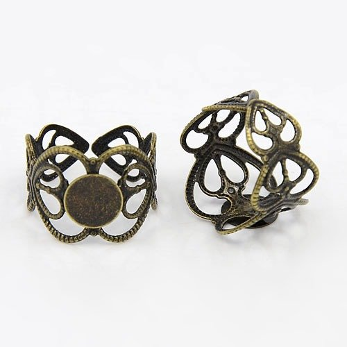 PEPPERLONELY Brand 10PC Antiqued Bronze Brass Adjustable Filigree Ring Blanks with Glue on Pad