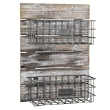 MyGift Rustic Wood & Metal Wire Wall-Mounted Storage Basket Rack with Label Holders