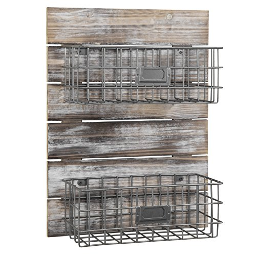 MyGift Rustic Wood & Metal Wire Wall-Mounted Storage Basket Rack with Label Holders (Baskets Wall Country)